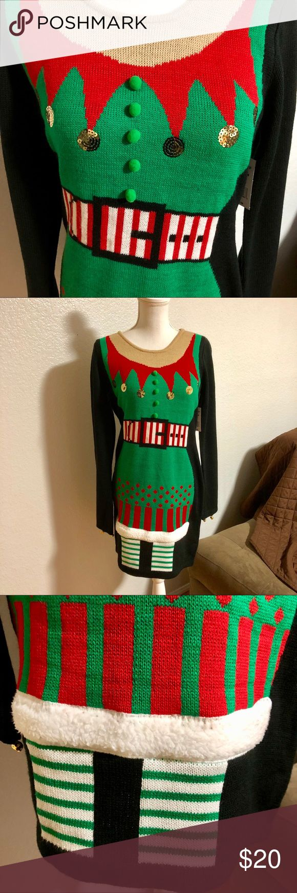 New Christmas Elf Sweater Dress Sz L Super cute Christmas Elf Outfit Sweater Dress Super cute to/from tag label 5 bells lined on each sleeve/ semi bell style sleeve Faux sheep fur trim  Figure flattering 100% acrylic Christmas Party Ready! Purchased at Navy Exchange Dresses