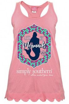 """Simply Southern """"Lets Be Mermaids"""" Tank - Peony from Chocolate Shoe Boutique"""