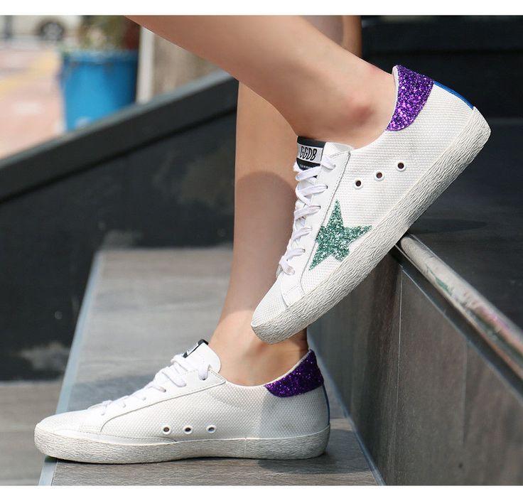 Golden Goose 17 F/W Women's Purple Tap Glitter Sneakers Vintage G31WS590 B86  #GoldenGoose #FashionSneakers