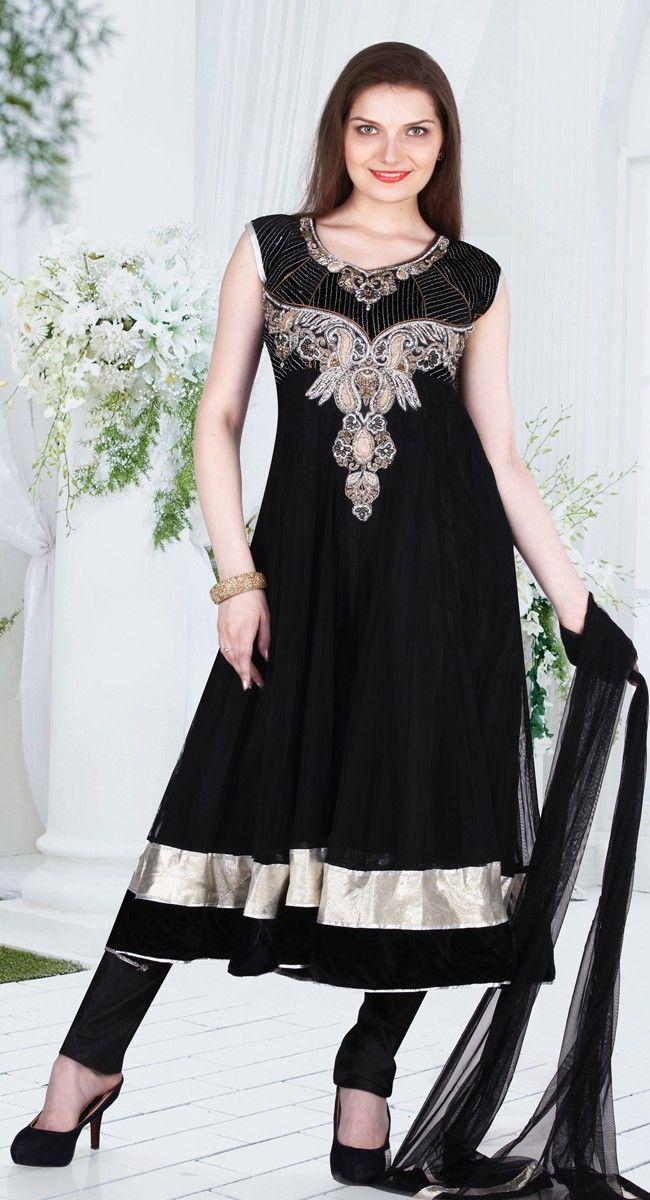 Black color Long Length Anarkali-Net #SalwarKameez