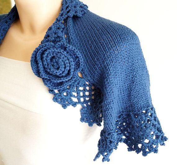 Bridal Shrugs Knit Candy Dark Blue Wedding Boleros by BridalFairy, $80.00. Being made in Ivory