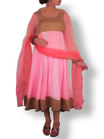 Multishade Pink Anarkali with Golden Sequin Yoke | Sweta Sutariya