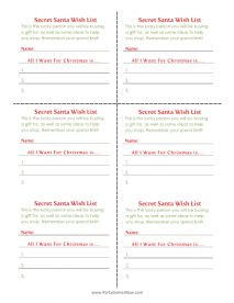 "Secret Santa ""Wish List"" Cards - Printable Christmas Games"