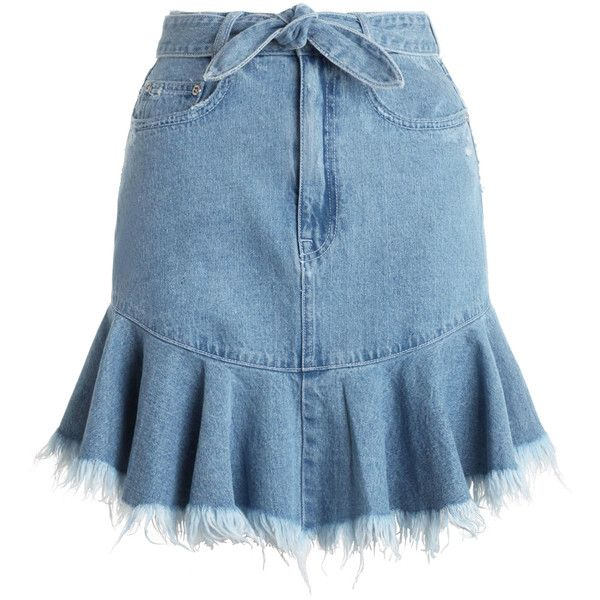 ZIMMERMANN Caravan Jean Skirt found on Polyvore featuring skirts, mini skirts, flippy skirt, flounce hem skirt, high rise skirts, high waisted denim skirt and high-waist skirt