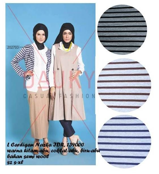 L. Cardigan Nezka 139.000 IDR Colour : Black-Grey. Grey-Blue, Grey-Brown Zize : S / M / L / XL Material : Semi Wool