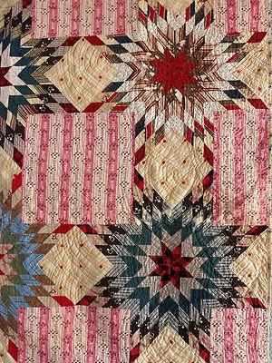 1800s Prairie Star Bouquet Quilt Pink Brown Blue