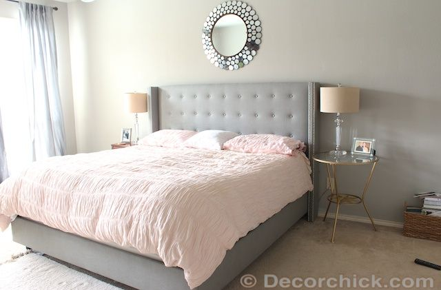 BEFORE PAINTING FOCAL WALL NAVY BLUE AND ADDING CORAL TO ROOM  Surprise! I Redid Our Master Bedroom Again! {Navy and Coral Bedroom} - Decorchick!