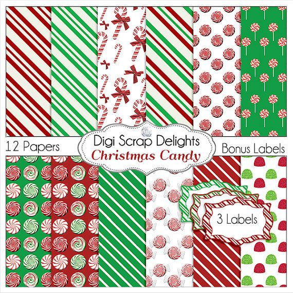 Christmas Candy Papers Backgrounds w  Candy by DigiScrapDelights, Peppermint, gum drops, lolly pops #Red #Green #Digital