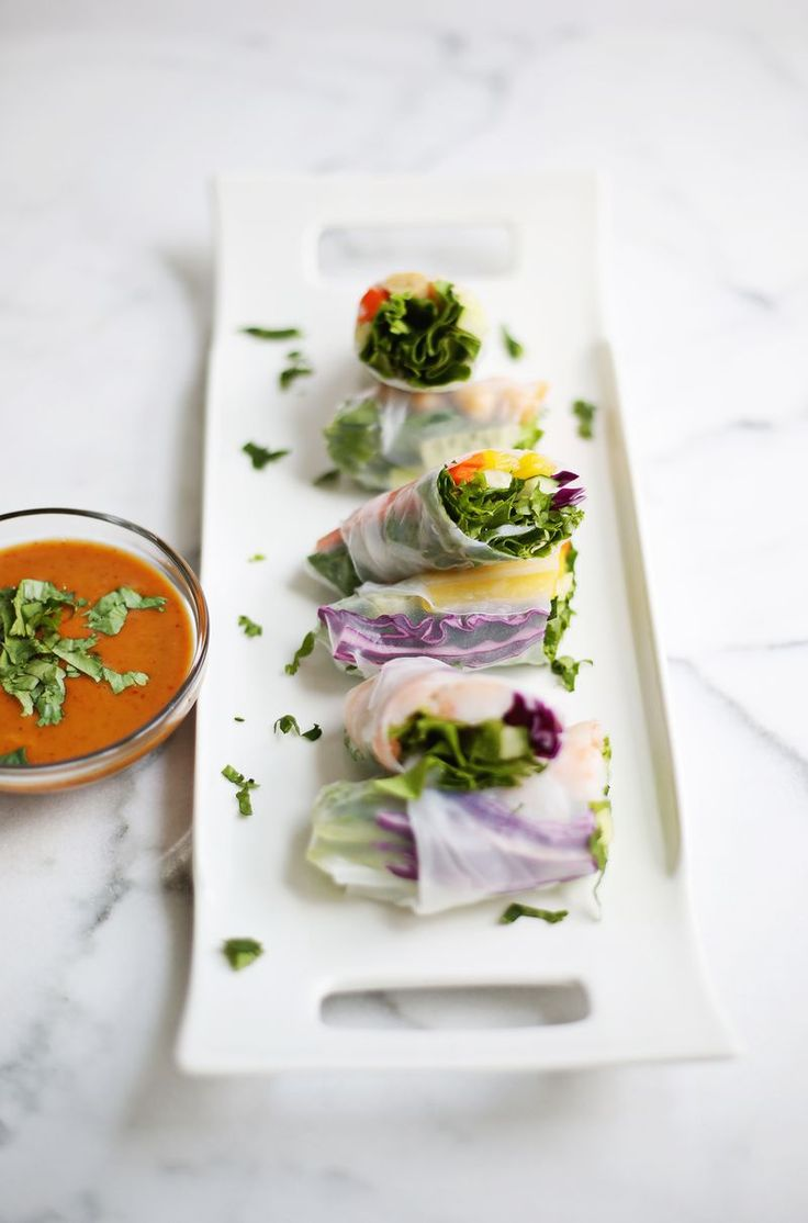 Fresh Spring Rolls and Spicy Peanut Sauce - A Beautiful Mess....  Sounds super delicious!