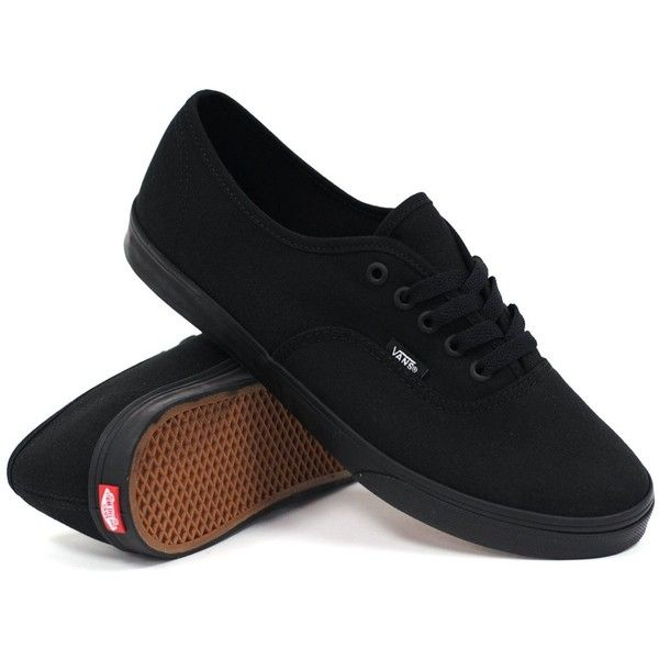 Vans Women's Authentic Lo Pro (Black/Black) Women's Shoes ($45) ❤ liked on Polyvore featuring shoes, sneakers, vans, black, skate shoes, vans trainers, vans footwear, vans sneakers and black trainers