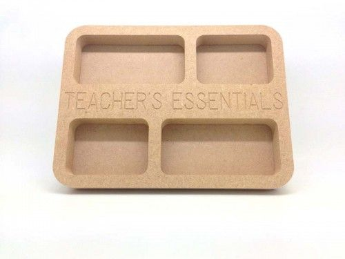 Teacher's Essentials Tray 20cm 18mm MDF tray with 3mm MDF base, base is supplied unattached for ease of painting. Teacher and Teaching assistant gifts ready to paint. http://www.lornajayne.co.uk
