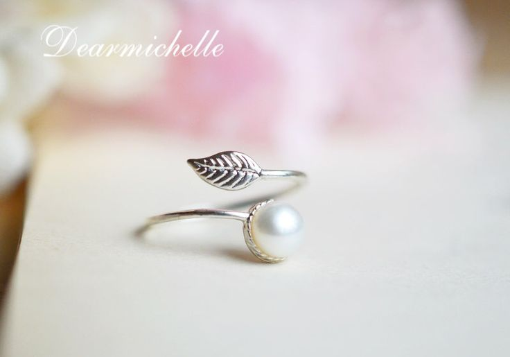 Flawless Freshwater Pearl Ring, Sterling Silver Leaf Ring, Natural Simple Pearl Ring, Adjustable Promise Ring, June birthday gift by DearMichelle on Etsy https://www.etsy.com/listing/244375830/flawless-freshwater-pearl-ring-sterling