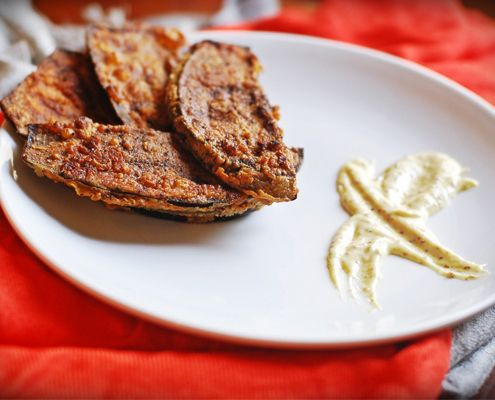 Egyptian Pan Fried Aubergines - A crispy spiced aubergine that holds itself well when paired with a ginger-mustard mayo.