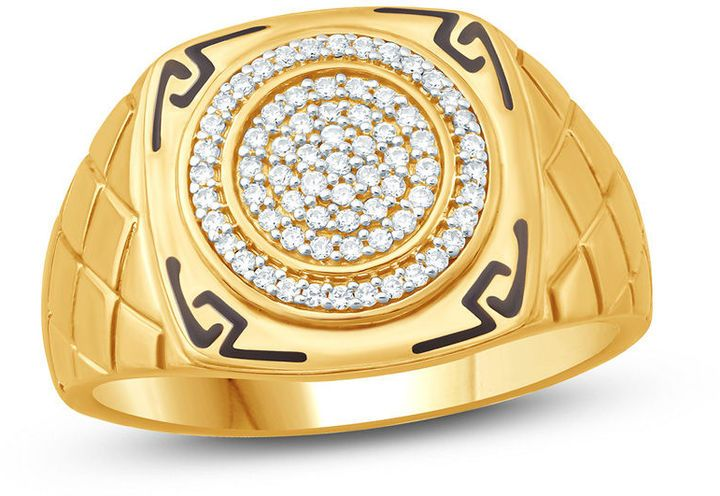 Zales Men's 1/4 CT. T.W. Composite Diamond and Enamel Aztec Design Square Signet Ring in 10K Gold