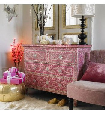 Mother of Pearl Four Drawers in Pink .Presenting our best selling classic chest of #drawers here!  It is exquisitely hand crafted by a team of skilled craftsmen from Rajasthan. Individual pieces of mother-of-pearl have been lovingly hand carved and fixed into pink resin, on a wood frame, to create a beautiful floral design.  This has three full width drawers with jewel like knobs. #furniture