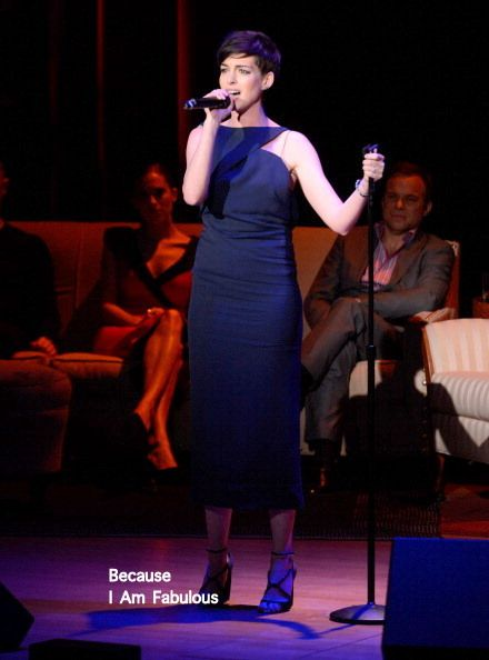 Fabulously Spotted: Anne Hathaway Wearing Vionnet - Great American Songbook Event Honoring Bryan Lourd - http://www.becauseiamfabulous.com/2014/02/anne-hathaway-wearing-vionnet-great-american-songbook-event-honoring-bryan-lourd/