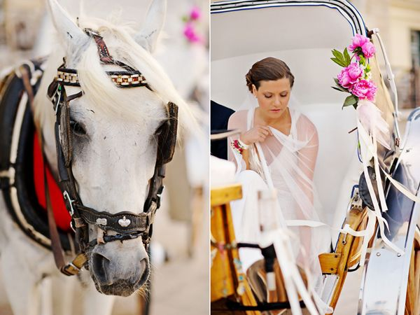 The wedding ceremony took place in the historic church of Saint Nicholas that is built at the entrance of the old port, facing the island lighthouse. The bride arrived at the church in a #horsedrawn #carriage that was decorated with peonies, lovely flowers that were also used in her bridal bouquet See more http://www.love4wed.com/greek-island-weddind-sifnos-greece/