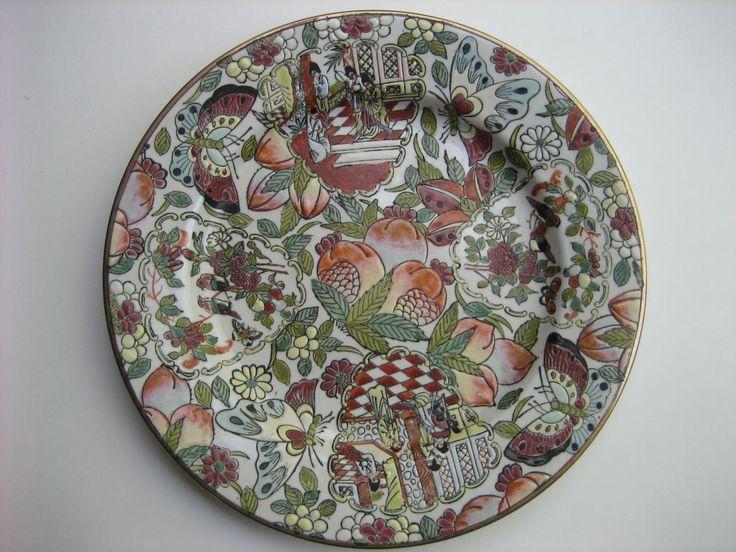 Vintage Hand-painted Chinese Enameled Famille Rose Mandarin Family Scene & Nature Scene Decorative Ceramic Plate w/ Export Script by 7twentyone on Etsy