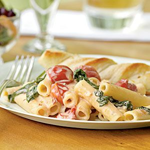 Ziti with Spinach, Cherry Tomatoes, and Gorgonzola Sauce - one of my favorite pasta recipes ever.