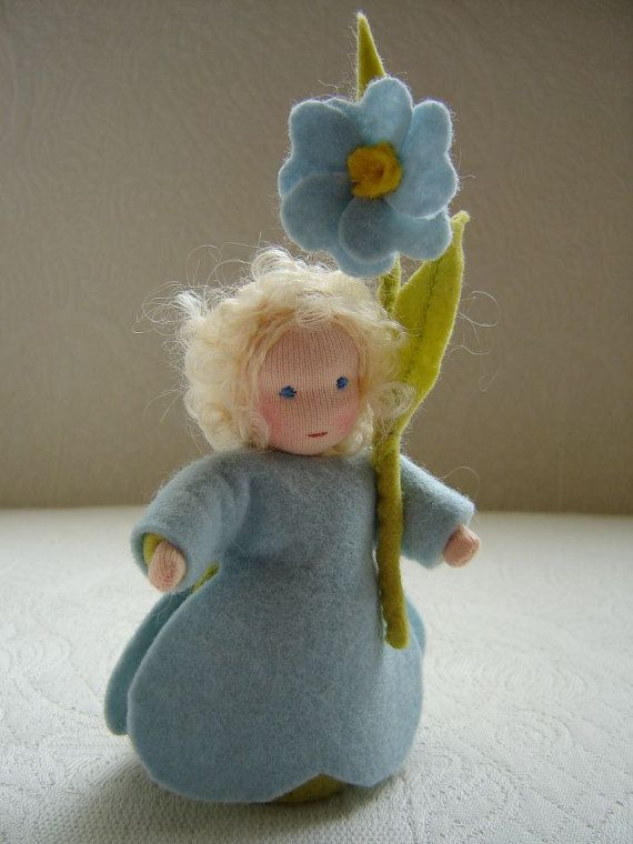 Nature table doll, Forget-me-not flower doll, 4,3 inch