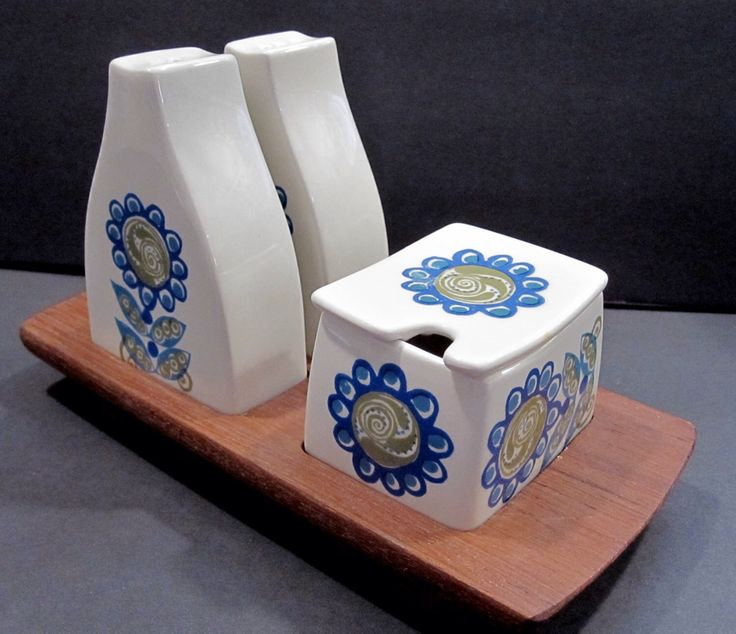Salt and Pepper Condiment Set on Teak Tray Turi Gramstad-Oliver design Tor Viking Mid Century Modern Figgio Flint Norway. Vintage Dinnerware by jjmjewelry on Etsy https://www.etsy.com/listing/222789149/salt-and-pepper-condiment-set-on-teak