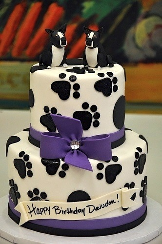 paw print birthday cake.  Could change to panther paws