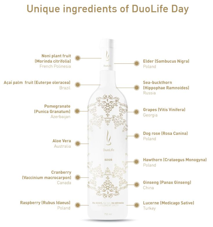 DuoLife Day is the solution for those who want to activate the psychomotor qualities of their organism and who want to equip their body with substances indispensable for proper everyday functioning. Noniplant fruit. Açaí Palm berries. Pomegranate. Aloe Vera. Large Cranberry. Raspberry. Elder fruit. Sea-buckthorn fruit. Grapes. Ginseng roots. Dog rose fruit. Hawthorn. Lucerne. #noni #açaí #pomegranate #AloeVera #cranberry #raspberry #grapes #ginseng #hawthorn #lucerne #duolife