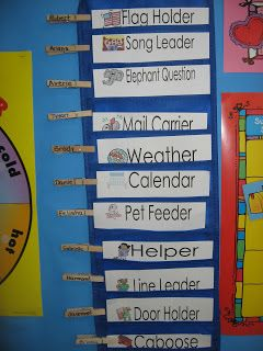 pre-k job chart using clothespins, each day child's name moves down to the next job