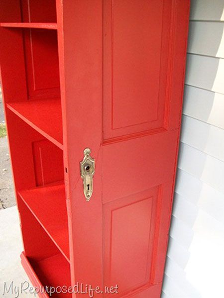 DIY Decorating Ideas: Repurpose an old door into a bookcase by cutting it in half and adding shelves. Finish it off with a vibrant high-gloss color to give it a fresh modern feel. Repurposed Door Bookcase Tutorial