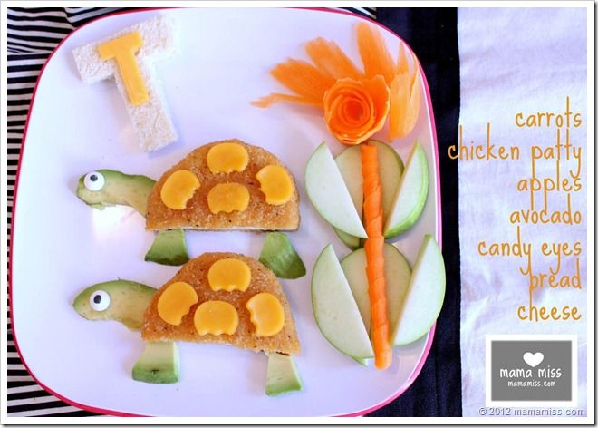 Turtle Lunch - chicken patty or other sandwich, curled carrots, green apples, avocado, cheese, candy eyes from Wilton