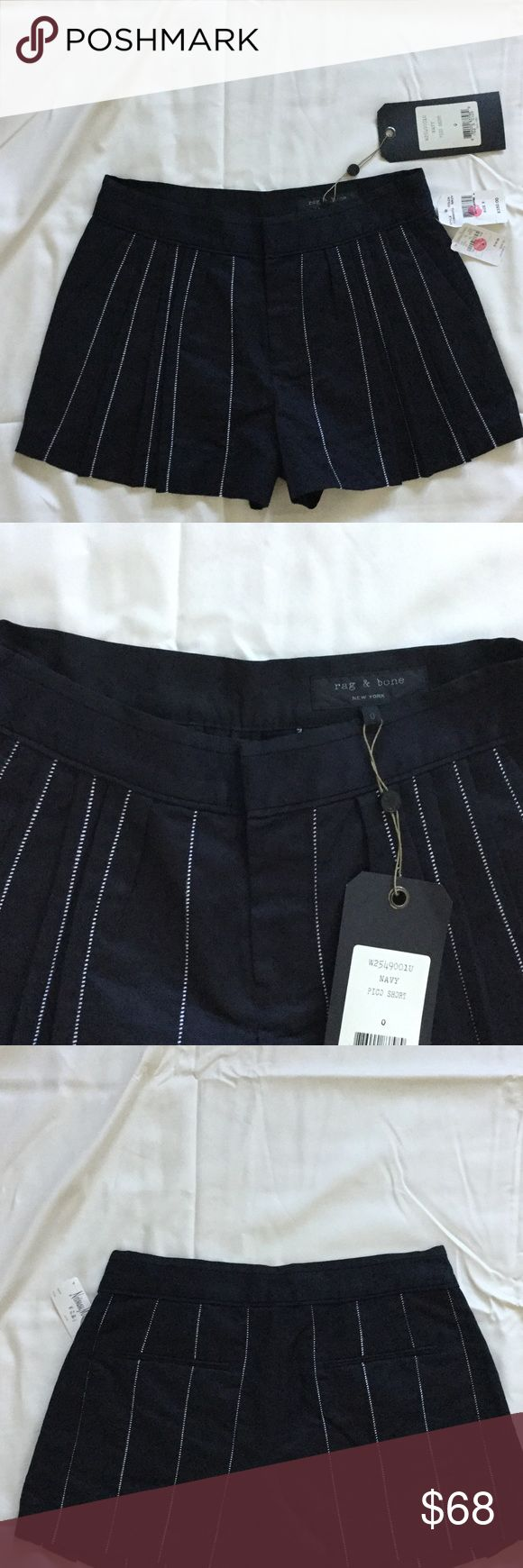 Rag and Bone pleated shorts. Brand new with tags. Rag and bone navy blue pleated shorts with white stripe stitching. Brand new with tags. rag & bone Shorts
