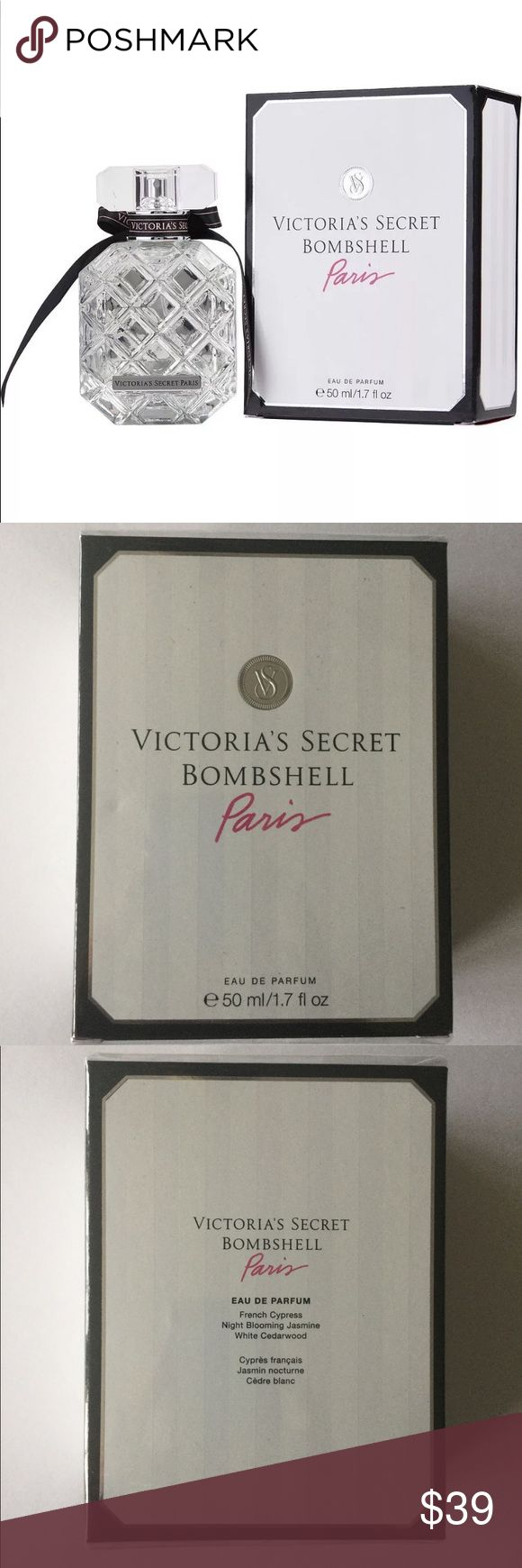 $39❤️New In Box VS Bombshell Paris Eau de Parfum ❤️This is a must have for all you Victoria's Secret fans!   Sexy in the City of Light. Crisp and fresh, this fragrance captures the scent of Parisian gardens in wintertime. * Fragrance type: Fresh * Notes: French cypress, night blooming jasmine, white cedarwood * 50 ml/1.7 fl. oz * Domestic * Retail Price $55 Victoria's Secret Other