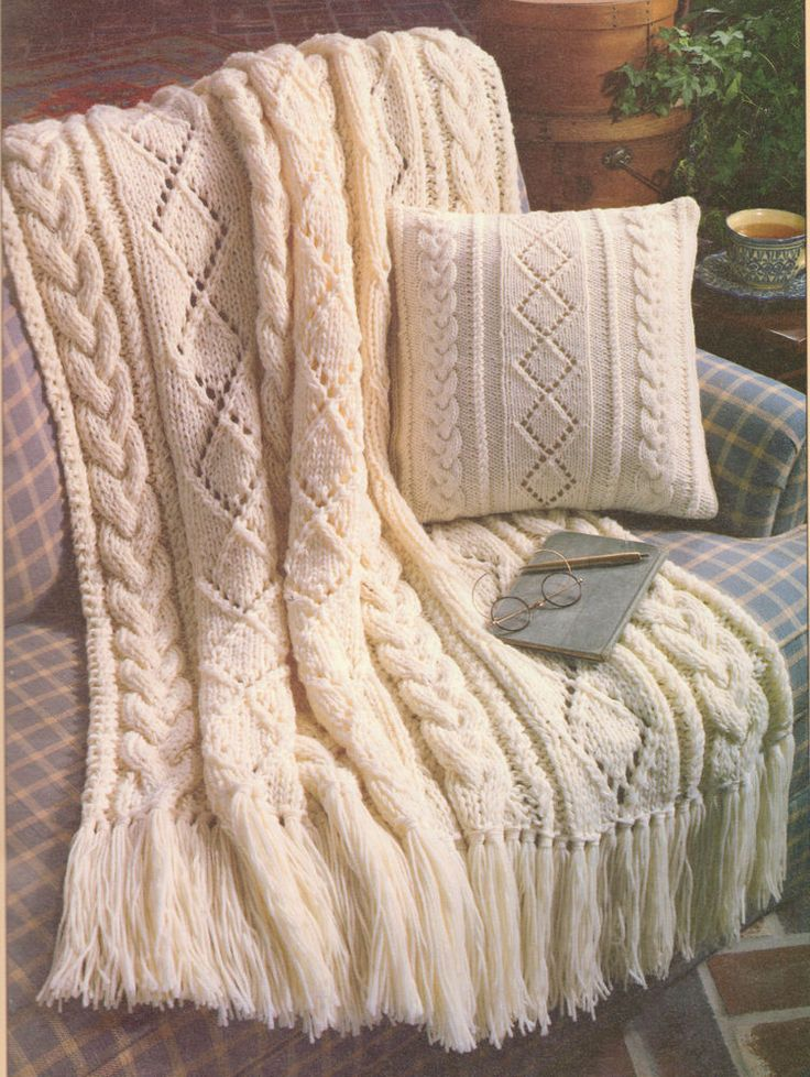 "Gorgeous Aran Diamonds Afghan 44"" x 59"". have a look! Cushion Pad approx 14"" square. Knitting Pattern Copy. & 14"" Cushion. 5mm needles for Cushion (worked with 1 strand of wool). Aran wool. You will need . 