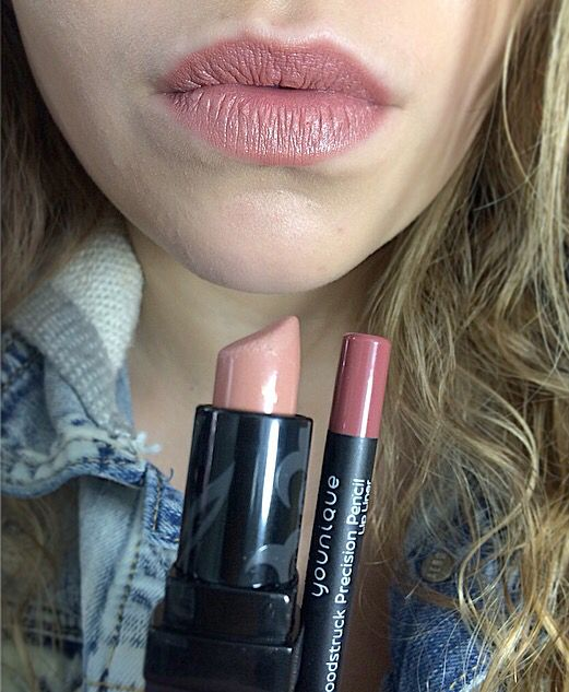 Pouty lipliner with Well-To-Do lipstick