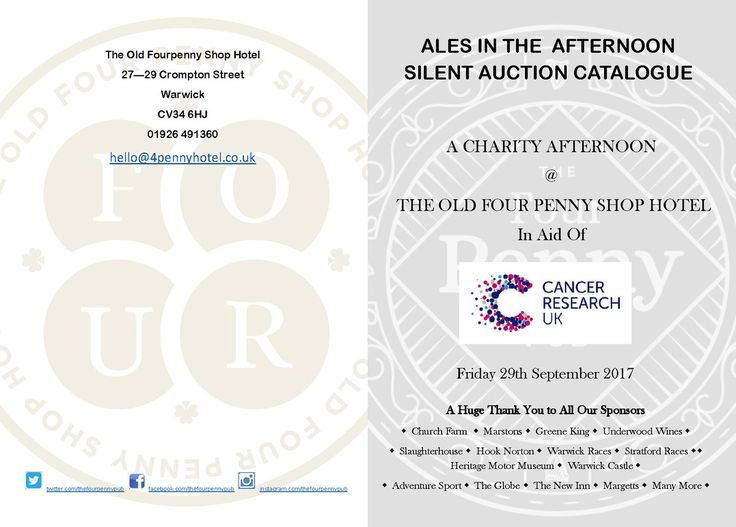 AUCTION & ALES in the AFTERNOON  Something for everyone in this Lot! Museum's, Races🏇, Whiskey, Jewellery, Clay Pigeon Shooting, Golf Day ⛳, Meals, 🍾Beer🍻 and lots of Sausages! ... All for a great cause, Place your bid on a bidding slip at the Four Penny Pub or by using the contact form on the website.  Winners will be notified by 3pm October 1st!  💰 All of the money raised from the auction and all of the money raised from the barrels of sponsored ales sold will go directly to Cancer…