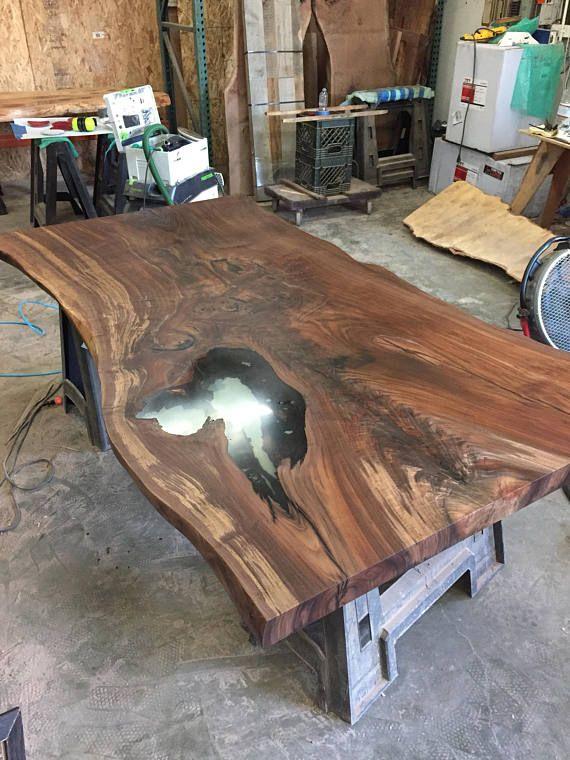 Oregon Black Walnut Slab Table Top With Live Edge Slab Dining Tables Wood Resin Table Slab Table