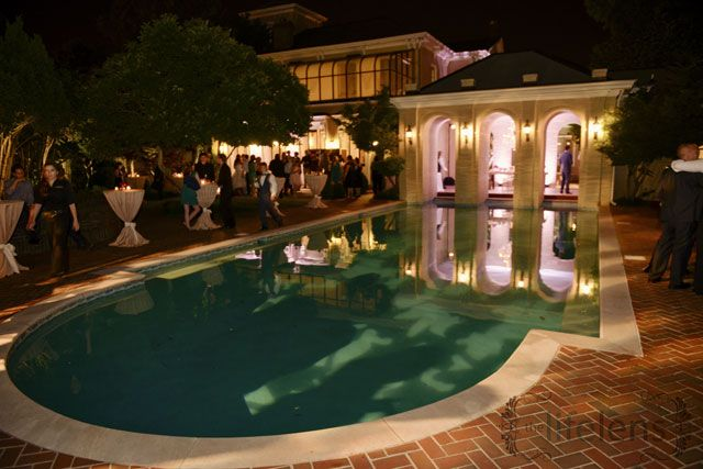 Mansion with pool at night  The Italian-Renaissance style mansion, built in 1867, provides a ...
