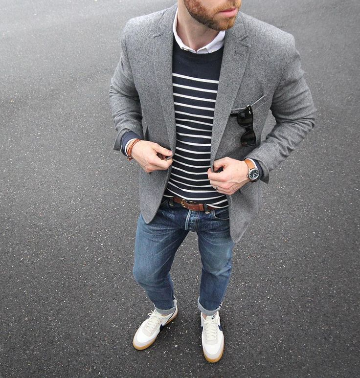 Cold weather nautical vibes.  Blazer: @bananarepublic  Shirt: @grayers oxford  Pullover: @urbanoutfitters  Belt: @rancourtco  Bracelet: @caputoandco  Shoes: @nike for @jcrew killshot 2  Watch: @tsovet by thepacman82