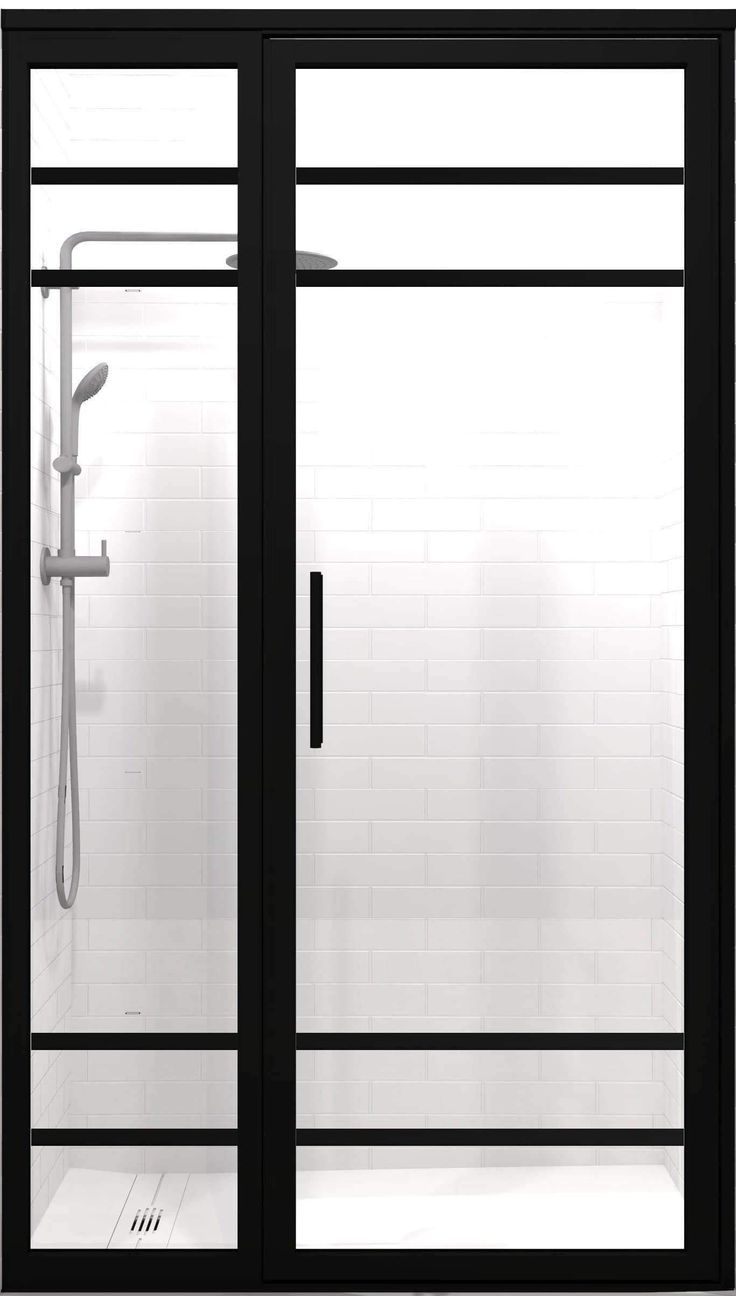 Gridscape Gs2 4 Hinged Door And Panel In Black Finish And Clear Glass Shower Doors Custom Shower Doors Coastal Shower Doors