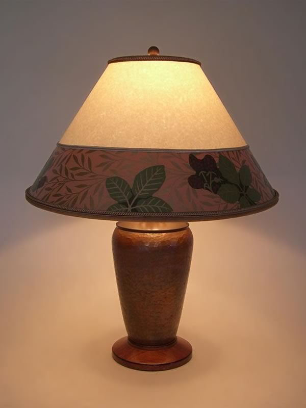 Arts Crafts Copper Lamp Parchment Paper Lamp Shade With Bradbury Border Sue Johnson Custom Lamps Shades Copper Table Lamp Lamp Art Glass Lamp