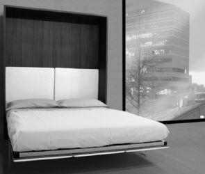 Armoire Lit Escamotable Square doté d'une très belle finition tissu. Idéal pour séjour ou dans un studio  @Modulance