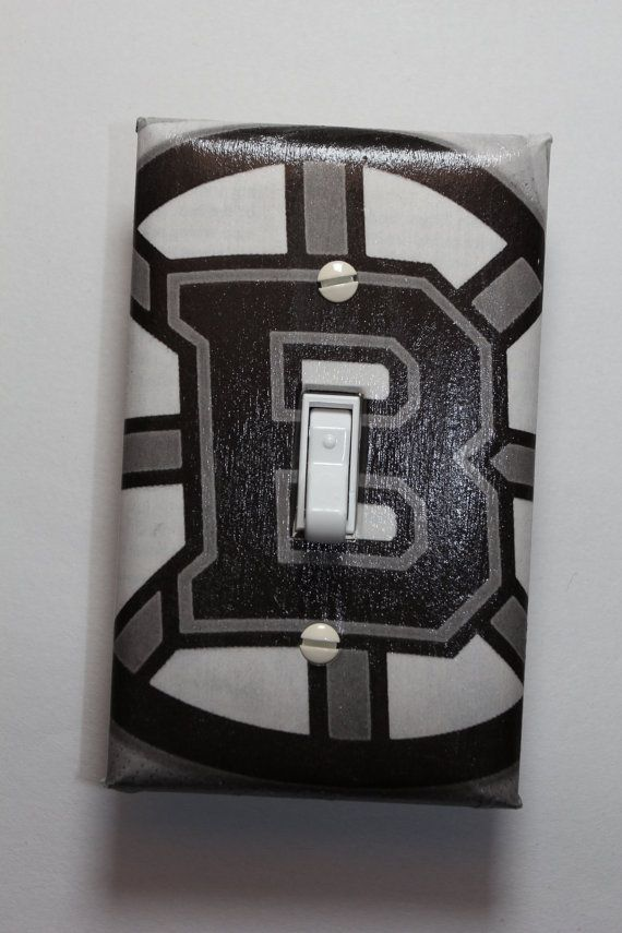 Boston bruins nhl hockey light switch cover plate mancave Bruins room decor