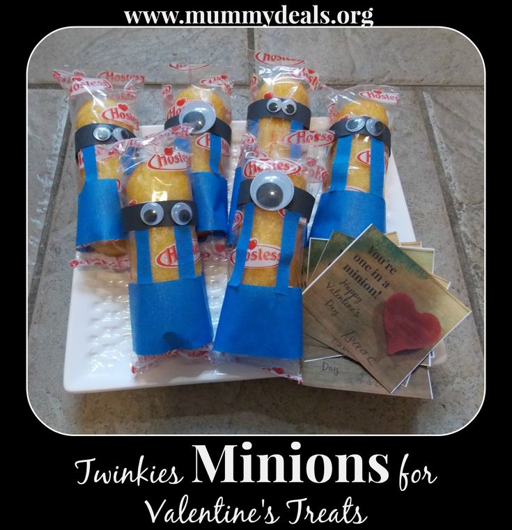 Making Twinkies Minions for Valentine's Treats is a post about how to make Twinkies Minions into Valentine's Day gifts your child can give to classmates.