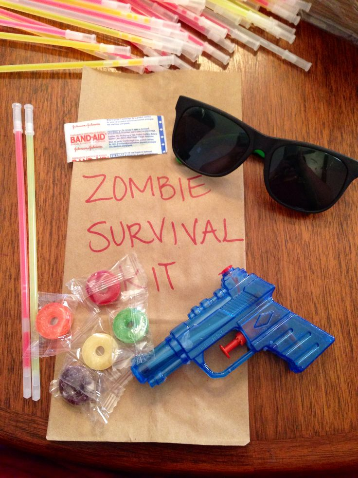 Plants vs. Zombies Party. Our party favor created by yours truly~ Amanda Chino Albuquerque, New Mexico, USA. The sunglasses and squirt guns are from Oriental Trading Co.