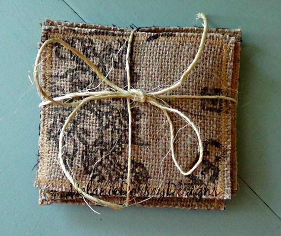 Burlap Coffee Bag Coasters Recycled Coffee by MelanieDorseyDesigns, $7.00