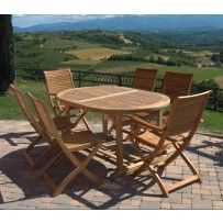 """Set tavolo estensibile 6 posti mod. """"Estrella"""" in Teak, legno molto resistente e quindi ideale per uso esterno."""