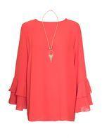 Womens *Quiz Frill Sleeve Necklace Top- Orange