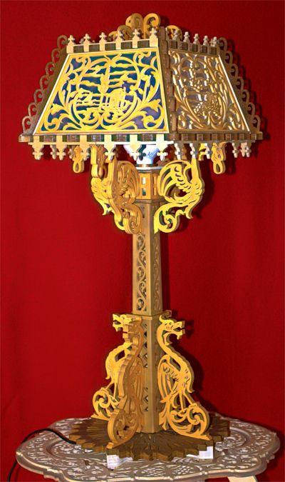 Dragons table lamp, scroll saw fretwork pattern