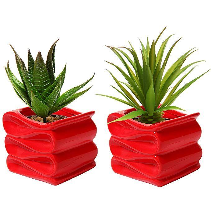 Trend 2019 Sage Red Mygift Set Of 2 Modern Decorative Folded Design Small Ceramic Plant Flower Pots Outdoor Small Flower Pots Ceramic Flower Pots
