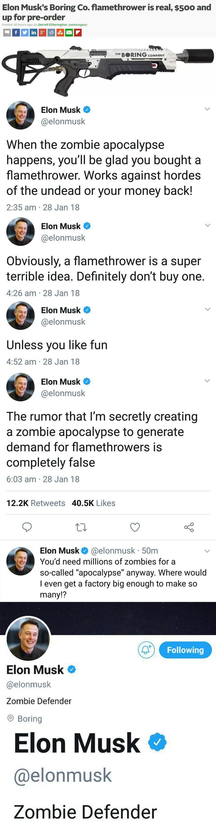 Raising money for his tunneling business, The Boring Company, Elon Musk sold out of flamethrowers in just four days.